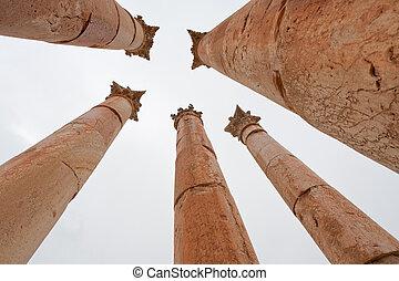 Corinthium column in antique town Jerash