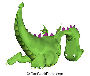 Green Dragon flying away - Illustration of a Green Dragon...