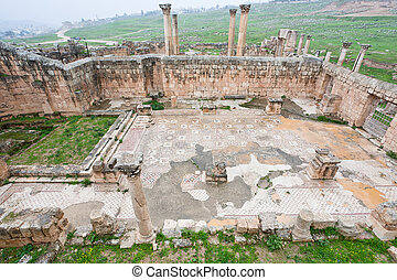 ruin of christian church in antique town Jerash, Jordan