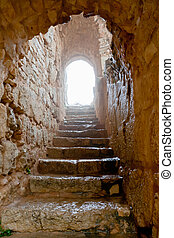 entrance in medieval Ajlun Castle, Jordan - entrance in...