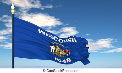 Flag of the state of Wisconsin USA
