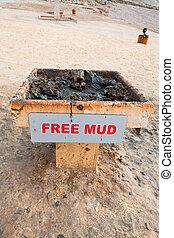 free mud on coast of Dead Sea