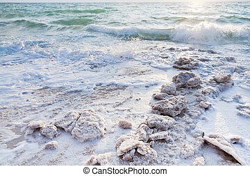 crystalline salt on beach of Dead Sea, Jordan
