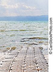 pontoon pier on coast of Dead Sea