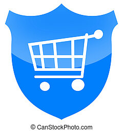 Consumer protection or secure payment sign with shopping...