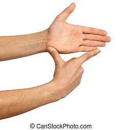 mostrando, mão, medidas, sinal