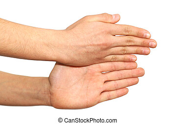 sobre, isolado, dois, fundo, mãos, branca