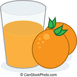 Orange Juice  - Glass of orange juice with oranges