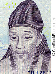 Yi Hwang (1501-1570) on 1000 Won 2007 Banknote from South...