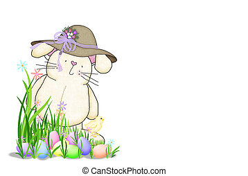 Easter bunny with bonnet - Cute Easter bunny with colored...