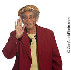 Elderly lady waving - Happy elderly woman waving. Isolated...