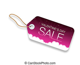 Valentines Day Sale Price Tag with hearts and clouds on pink...