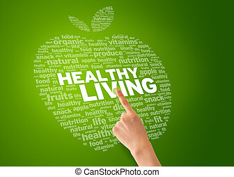 Healhty Living - Finger pointing at an Healthy Living Apple...