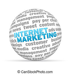 Internet Marketing - 3D sphere with the word internet...
