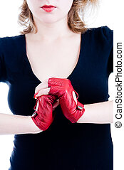 Close-up of female hands in gloves - Close-up of female...