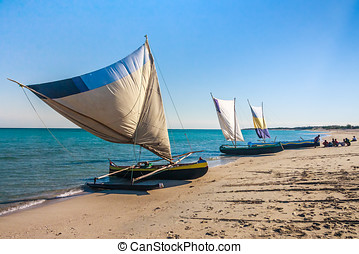 Outrigger canoes - Fishing dugouts to Anakao, southern...