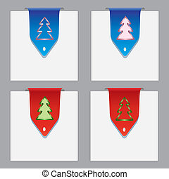 Colorful paper bookmarks with christmas theme Vector eps10