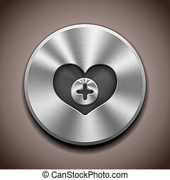 Metal Favorite icon button - Realistic Metal Favorite button...