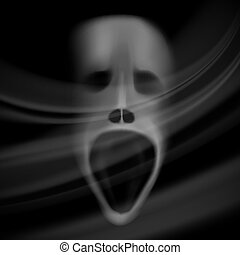 Ghost face, blurred skull, horror background with shadows