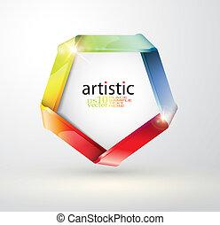 Folded rainbow ribbon design - Editable  vector illustration