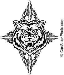 wolf - Vector illustration wolf tattoo dezign