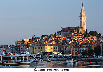Rovinj Croatia - View of the harbor in the morning sunrise
