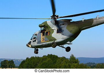Landing military transport helicopter. Czech Air Force. A...