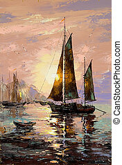 Sailing boat - Landscape with sailing boats on the sea