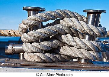 bundle of rope - Bundle of rope on the silver mooring...