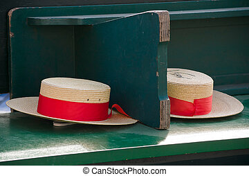 Traditional Gondolier's straw hats in Venice