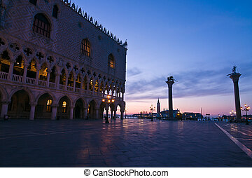 Doges Palace at dawn in Venice - Palazzo Ducale (Doges...