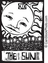 Sun Tarot - Tarot number nineteen the sun with face and...