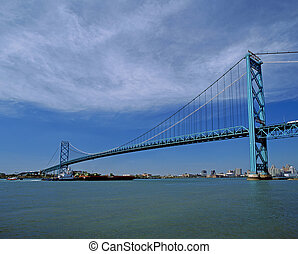 Suspention bridge in Windsor, Ontario - International...