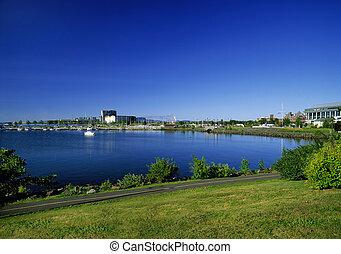 lago, superior, trueno, bahía