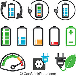 Battery icons - Colorful battery icons , recycling concept