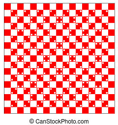 illusion of volume in red and white squares