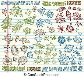 Tropical Summer Sketch Doodle Set - Tropical Summer Sketch...