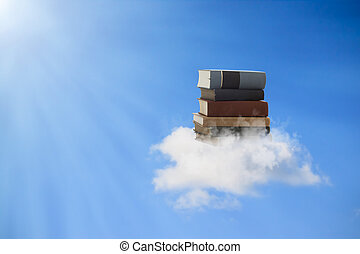 Books Floating on a Cloud - Beautiful books floating on a...