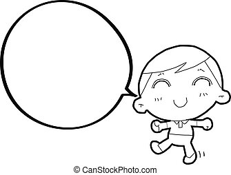boy with speech bubble - authentic looking child's drawing...