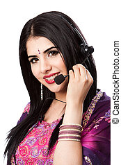 Happy Indian Customer Service Representative - Beautiful...
