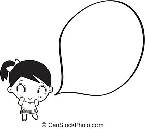 cartoon girl with speech bubble