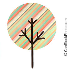 A multi striped tree cut out, isolated on a white background