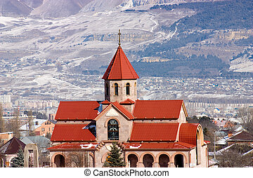 Surb Vardan church and Caucasus Mountains. - Surb Vardan...