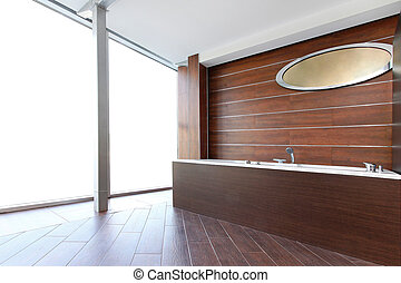 Wooden bathtub - Classic style bathroom interior with wooden...