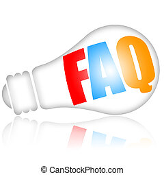 FAQ frequently asked questions concept with bright electric...
