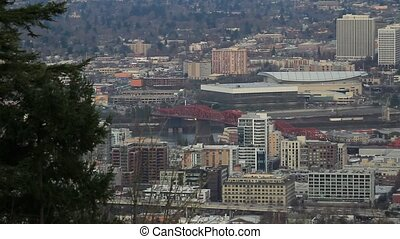 Portland Oregon Downtown Cityscape - Panoramic View of...