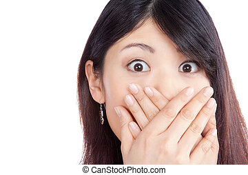 Asian Woman Covering her Mouth - Surprised asian woman...
