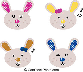 Cute bunny heads set isolated on white