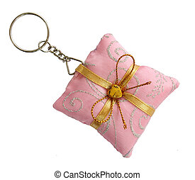 Key ring pink pillow shape with gold bow