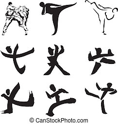 karate - sports silhouette & figure - japanese calligraphy,...